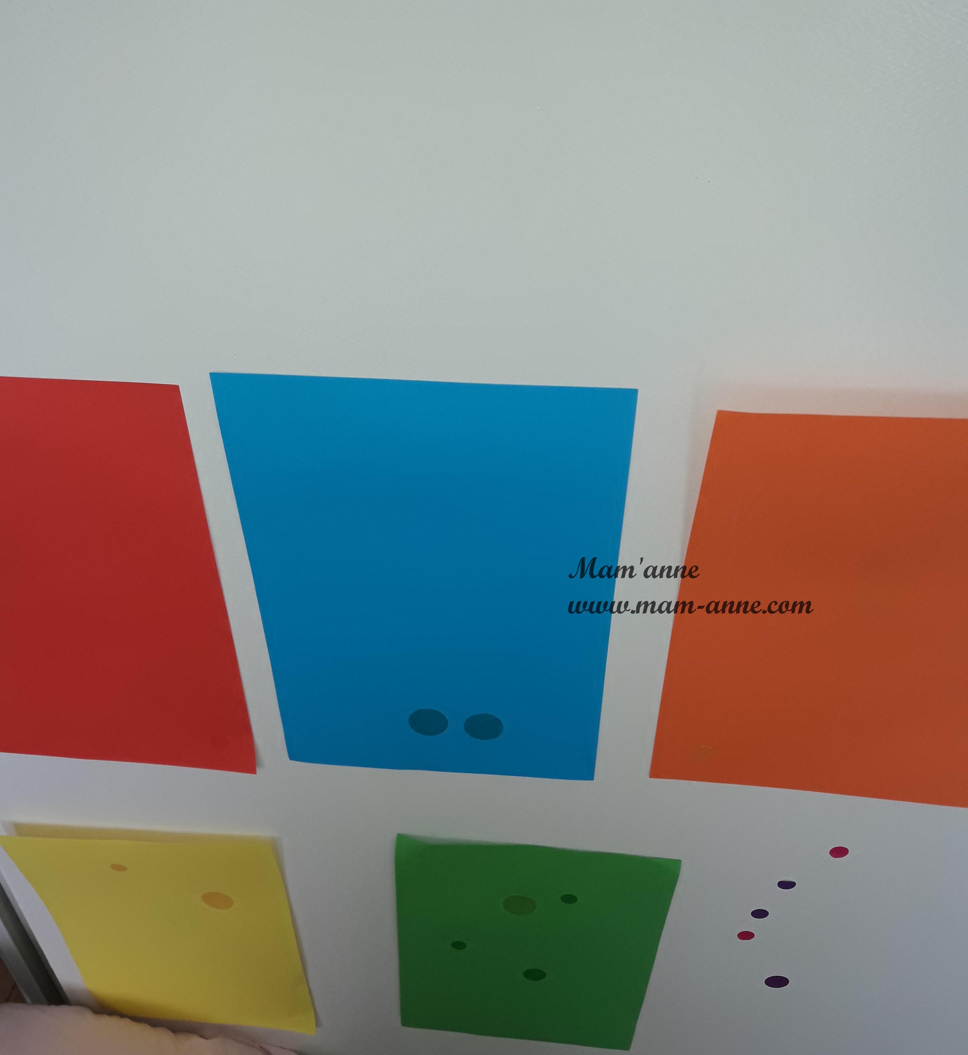 activité tri couleurs gommettes