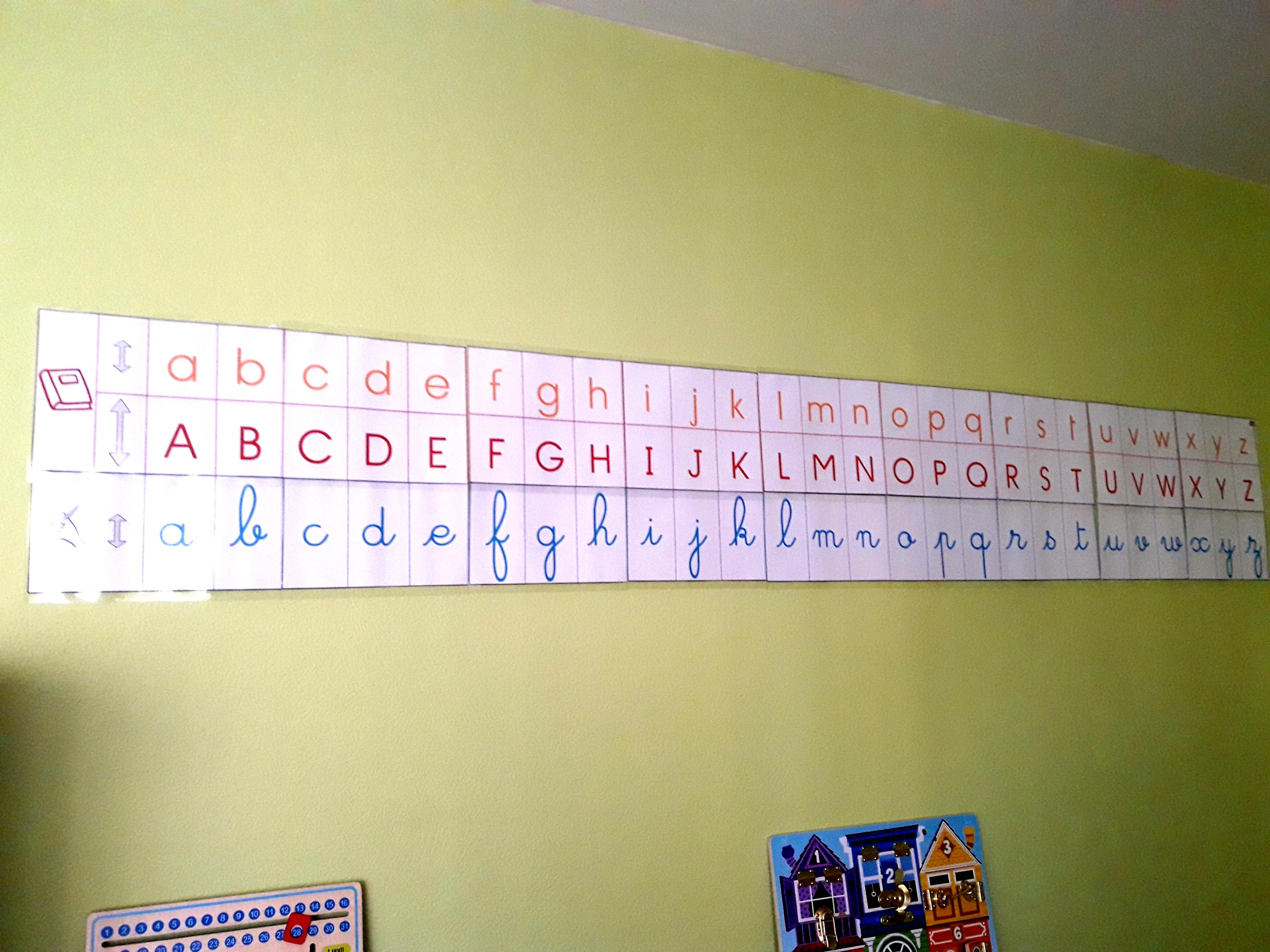 apprendre lire frise alphabet lettre cursif script capital sylvie d'esclaibes montessori alphas