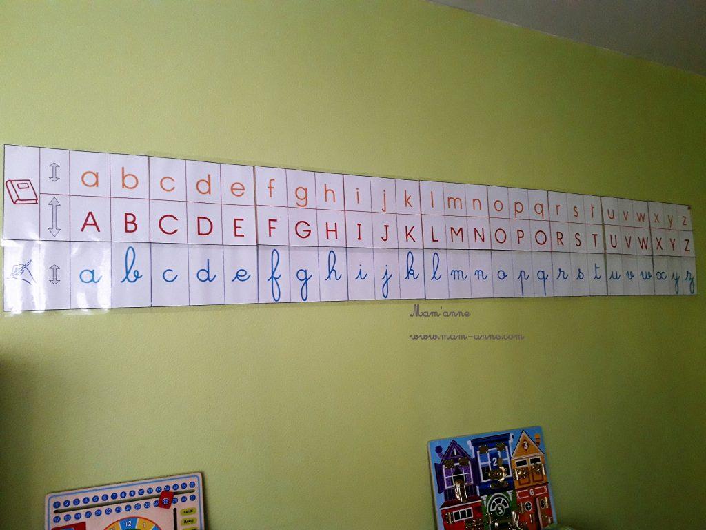lettres frise cursif script capital majuscule français turc montessori sylvie d'esclaibes