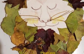 activite enfant feuilles automne lion