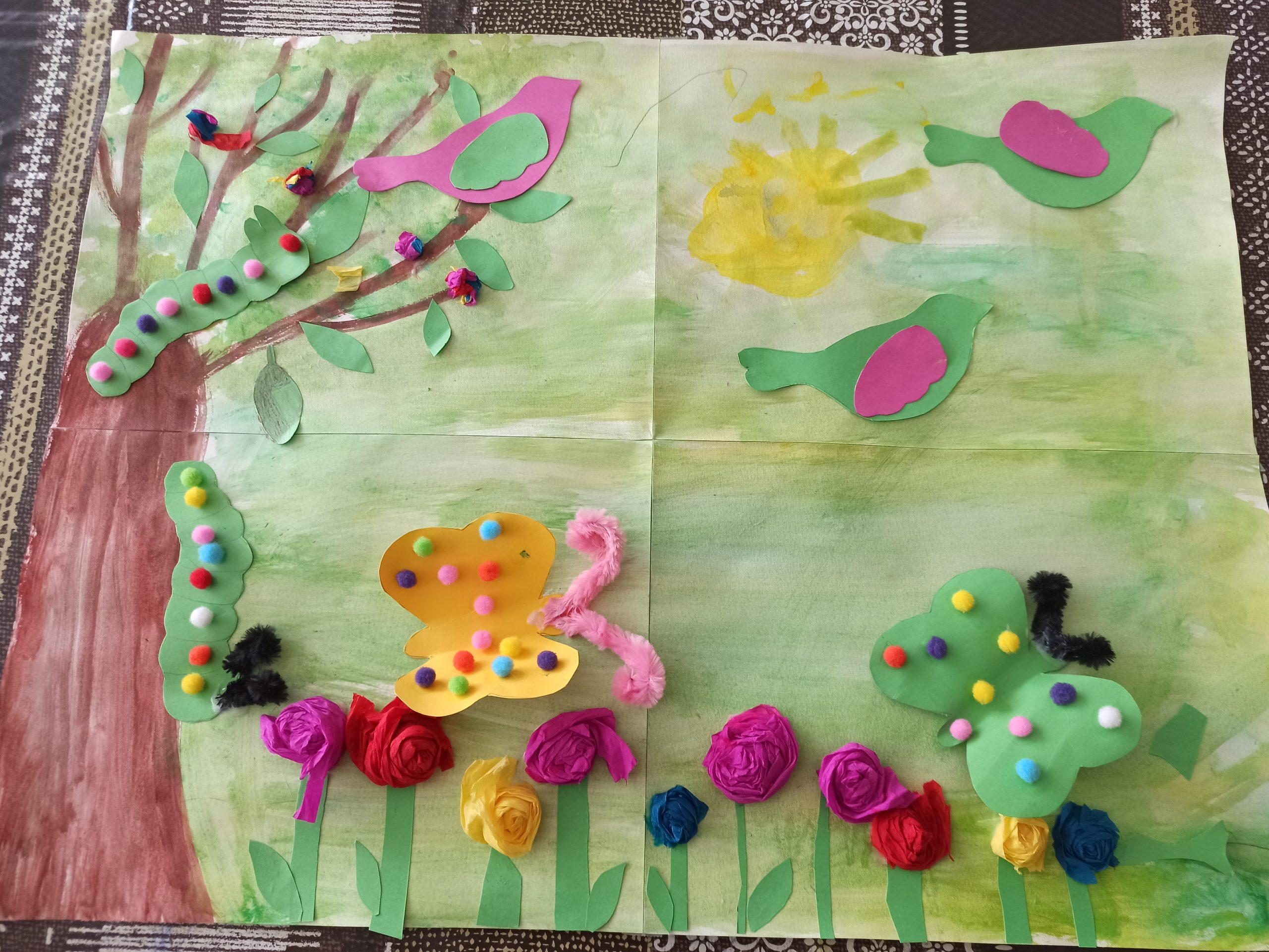 peinture printemps papillon